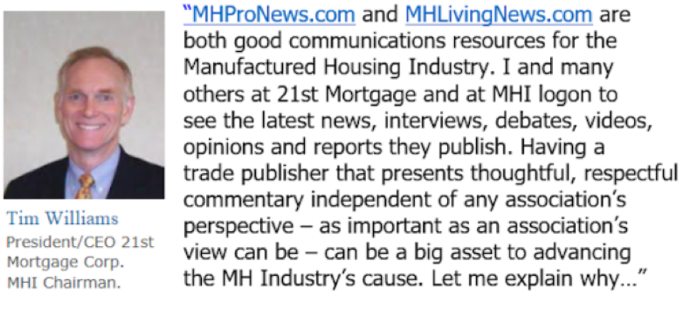 TimwilliamsPresidentandCEO21stMortgageManufactureHousing
